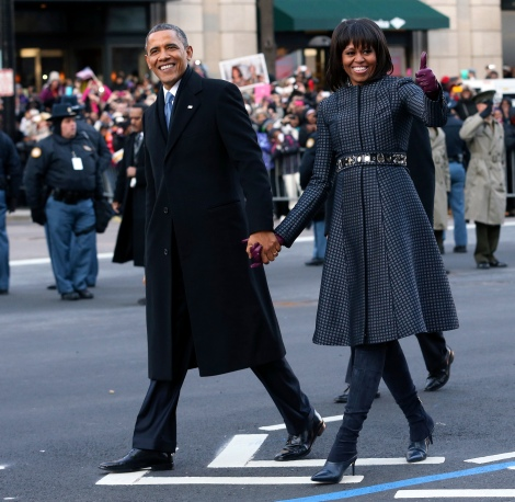 The coat is on point, teamed with an embellished belt...oh yes, and of course the President always looks suave!